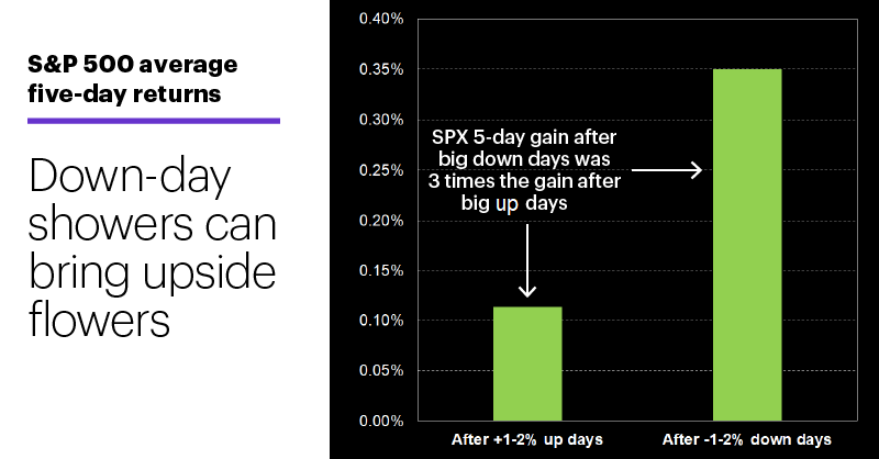 Chart 1: S&P 500 average five-day returns. Blurb: Down-day showers can bring upside flowers.