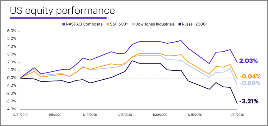January 2020 US equity performance