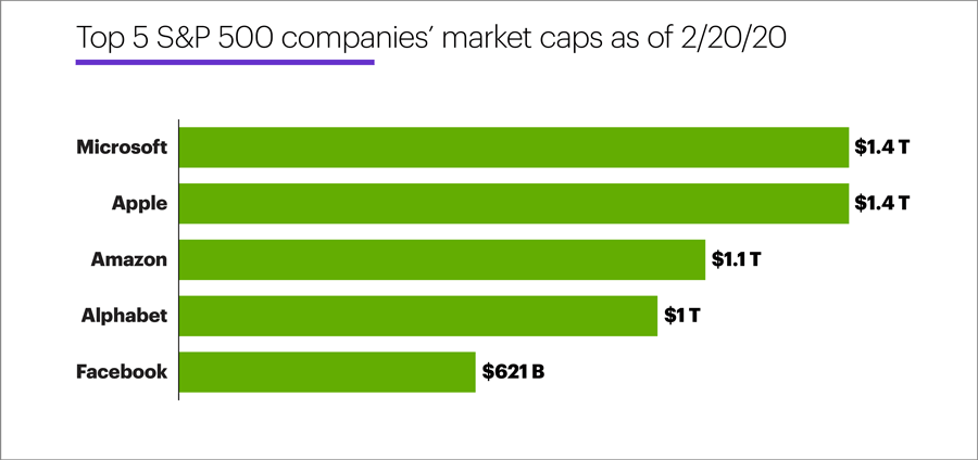 Top 5 S&P 500 companies' market caps as of 2/20/20
