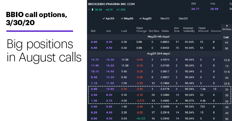 Chart 3: BBIO call options, 3/30/20. Big positions in August calls.