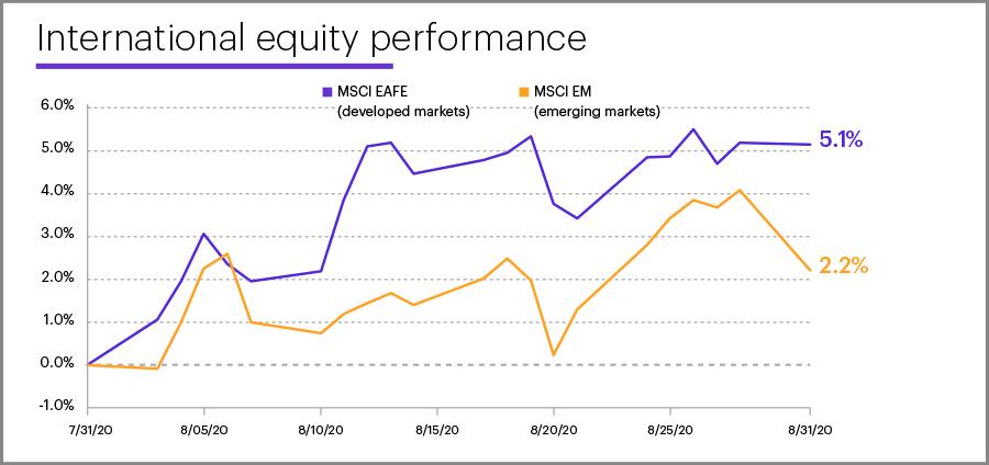 August 2020 international equity performance