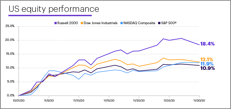 November 2020 US equity performance