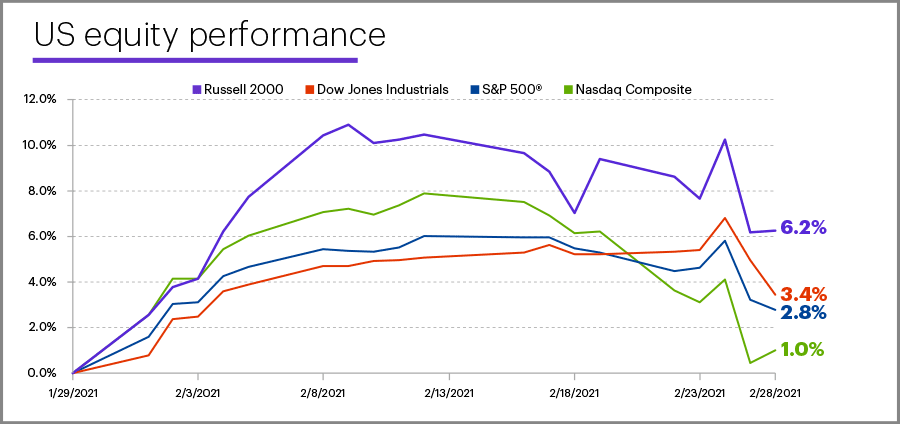 February 2021 US equity performance