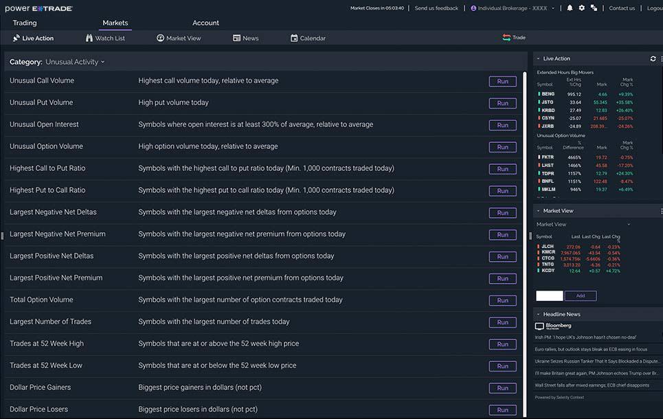 Screenshot of preset scans
