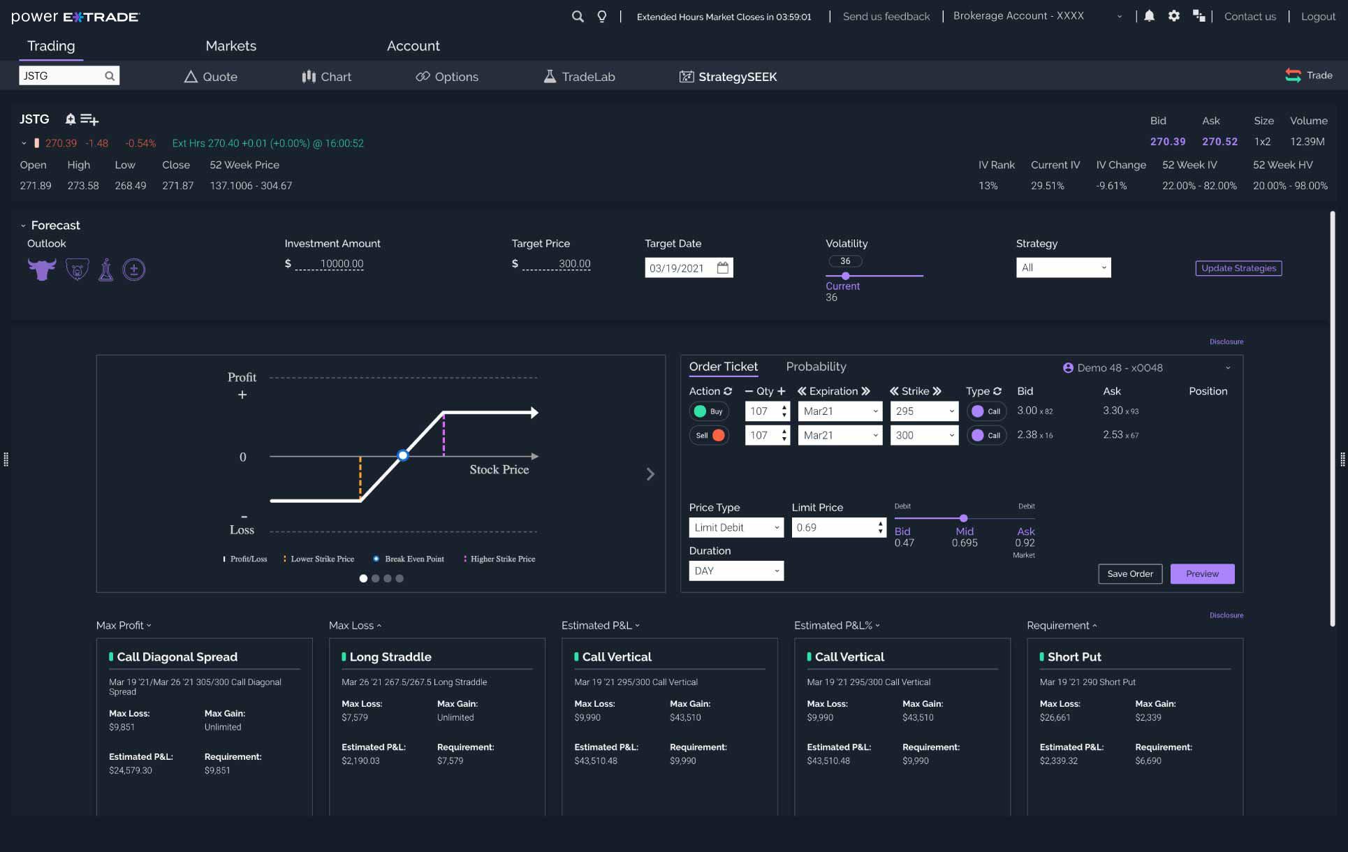 Screenshot of strategy seek