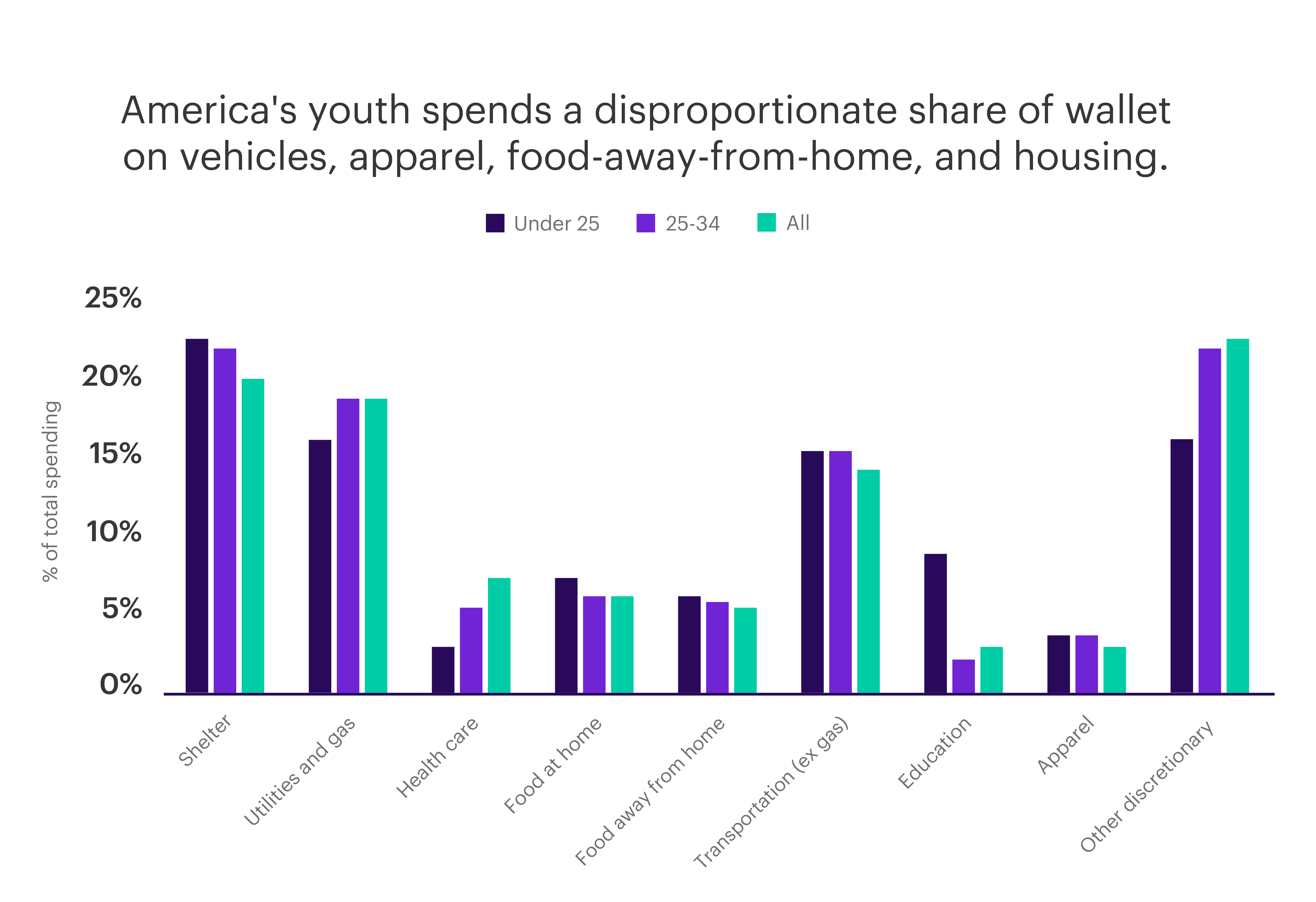 Chart - America's youth spends a disproportionate share of wallet on vehicles, apparel, food-away-from-home, and housing.